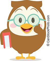 Owl with book character vector