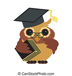 owl with book on white background vector illustration