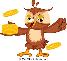 Owl with coins, illustration, vector on white background.
