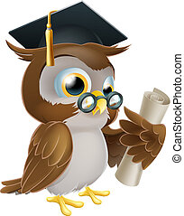 An illustration of a cute owl in glasses and graduate or convocation hat holding a rolled up scroll diploma, certificate or other qualification
