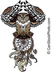 owl with dreamcatcher