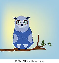 Owl with glasses on the blue background.
