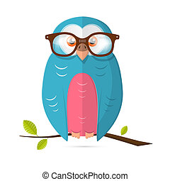 Owl with Glasses Vector Paper Illustration Isolated on White Background
