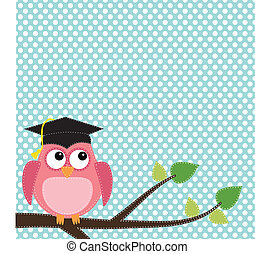 Owl with graduation cap sitting on branch, for scrapbooking...