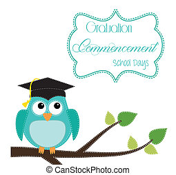 Owl with graduation cap sitting on branch, for scrapbooking,...