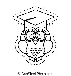 owl with graduation hat icon