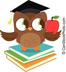 Owl with graduation hat standing on a stack of books. Vector illustration