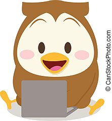 Owl with laptop character collection stock