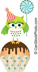 Owl with lollipop and birthday cake