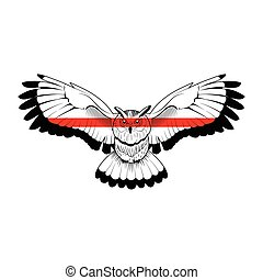 Owl with red stripe