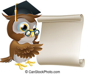 Owl With Scroll Document - Illustration of a cute owl...