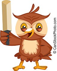 Owl with sword, illustration, vector on white background.