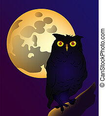 Owl with the full moon in background