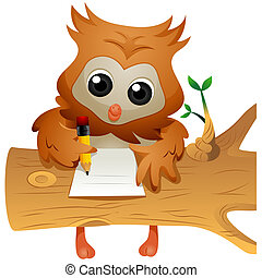 Owl Writing - Owl writing with Clipping Path