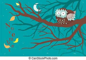 owlet, dernier, sommeils, jaune, branche, nuit, leaf., arbres, arbre, effrayé