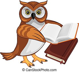 Owlet holds a book. Vector illustration