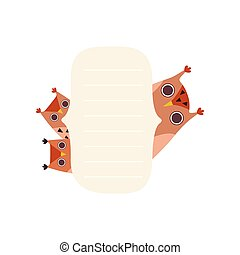 Owlets Holding Empty Banner, Cute Cartoon Owl Birds with Blank Sign Board Vector Illustration
