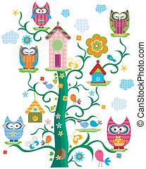 owl`s, árvore