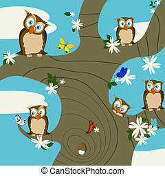 A springtime background with cute owls and butterflies