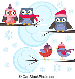 Owls and birds in winter forest. Vector set