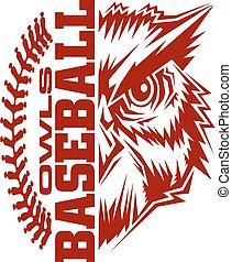 owls baseball team design with stitches and half mascot for...