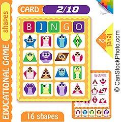 owls  Bingo level shapes 2