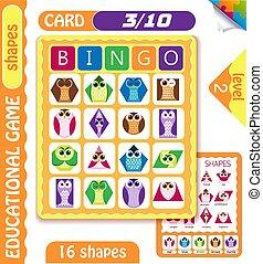 owls  Bingo level shapes 3