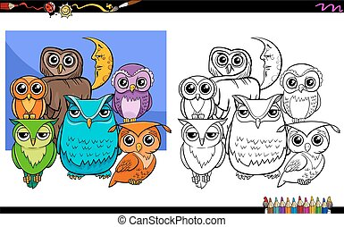 owls bird characters group coloring book