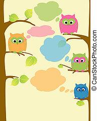 Owls - Childish illustration of owls