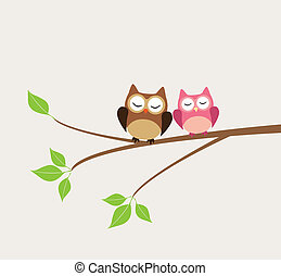 owls - vector owls sitting in the tree