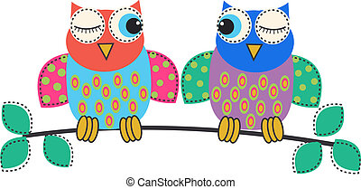 owls - two colorful flirting owls