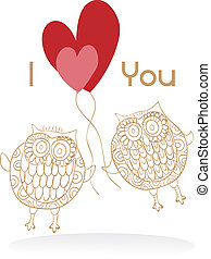 Owls couple in love wedding card