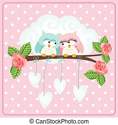 Owls couple love greeting card