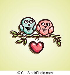 owls fall in love on the branch