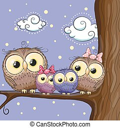 Owls family are sitting on a branch - Four owls mother, ...