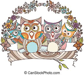 Owls Family Doodle Vector with Flow
