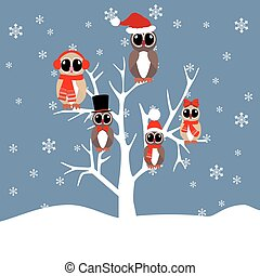 Owls family on the tree