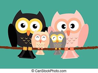 Owls family on tree