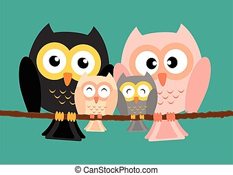 Owls family on tree