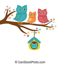 Owls family sitting on a branch