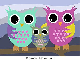 Owls family with mother and father and child color