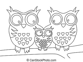 Owls family with mother and father and child