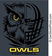 owls football team design with mascot and helmet for school,...