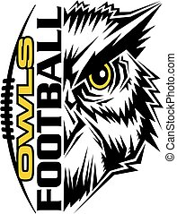 owls football team design with mascot and laces for school,...