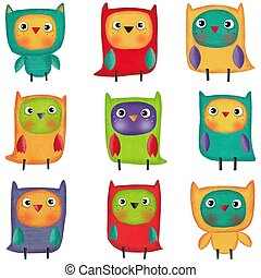 Owls. Illustration for children