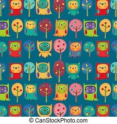Owls. Illustration for children