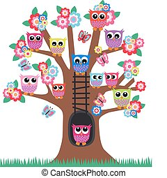 lot of colorful owls sitting in a tree