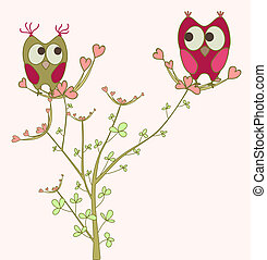 owls in love on branch