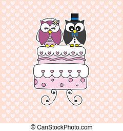 wedding card - Owls in love. wedding card
