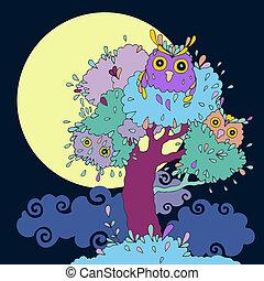 Owls in tree. Funny cartoon illustration.